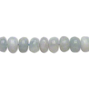 bead, blue calcite (coated), 7x4mm-9x6mm hand-cut rondelle, c grade, mohs hardness 3. sold per 14-inch strand.