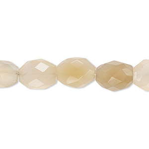 bead, blue chalcedony / gray chalcedony / brown chalcedony (natural), 10x8mm-12x10mm hand-cut faceted puffed oval, c grade, mohs hardness 6-1/2 to 7. sold per 6-inch strand.