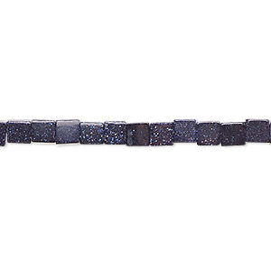 bead, blue goldstone (man-made), 4x4mm cube. sold per 16-inch strand.