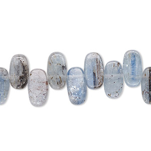 bead, blue kyanite (natural), 11x5mm-12x6mm top-drilled flat oval, b+ grade, mohs hardness 4 to 7-1/2. sold per 8-inch strand.