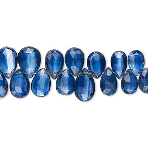 bead, blue kyanite (natural), 5x3mm-9x7mm graduated hand-cut top-drilled faceted puffed teardrop, b grade, mohs hardness 4 to 7-1/2. sold per 8-inch strand, approximately 65-75 beads.