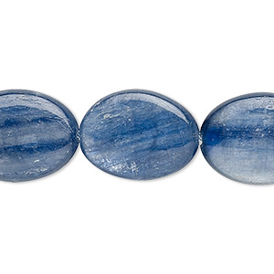 bead, blue kyanite (stabilized), 20x15mm flat oval with 0.5-1.5mm hole, b grade, mohs hardness 4 to 7-1/2. sold per 8-inch strand, approximately 10 beads.