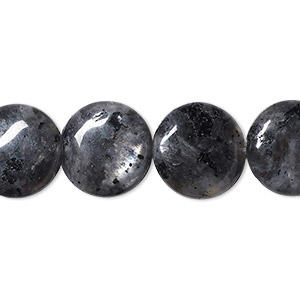 bead, blue labradorite (natural), 14mm flat round, b- grade, mohs hardness 6 to 6-1/2. sold per 16-inch strand.