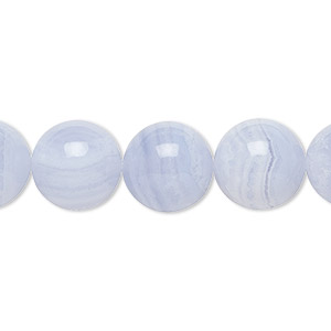 bead, blue lace agate (natural), 12mm round, b grade, mohs hardness 6-1/2 to 7. sold per 16-inch strand.