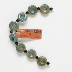 bead, blue moon beads, ceramic, honey and dark aqua, 19-20mm round donut with 6-7mm hole. sold per 7-inch strand.
