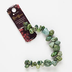 bead, blue moon beads, multi-gemstone (dyed), green, small to extra-large pebble and mini to medium hand-cut nugget, mohs hardness 7. sold per 7-inch strand.