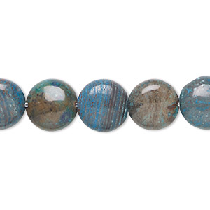 bead, blue sky jasper (dyed / stabilized), 12mm flat round, c grade, mohs hardness 6-1/2 to 7. sold per 16-inch strand.