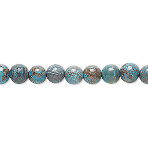 bead, blue sky jasper (dyed / stabilized), 6mm round, c grade, mohs hardness 6-1/2 to 7. sold per 16-inch strand.