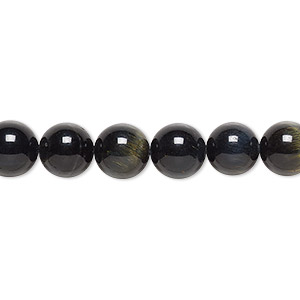 bead, blue tigereye (natural), 8mm round, b grade, mohs hardness 7. sold per 16-inch strand.