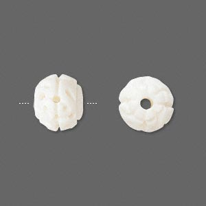 bead, bone (bleached), white, 12mm carved round. sold per pkg of 4.