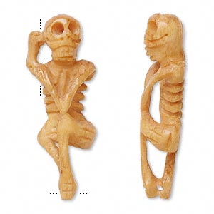 bead, bone (dyed), antiqued, 45mm hand-carved skeleton, mohs hardness 2-1/2. sold individually.