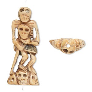 bead, bone (dyed), antiqued, 55x23mm hand-carved single-sided skeleton holding skull, mohs hardness 2-1/2. sold individually.