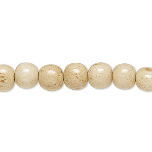 bead, bone (dyed), antiqued brown and white, 8mm round, mohs hardness 2-1/2. sold per 16-inch strand.