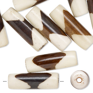 bead, bone (dyed), brown and white, 24x8mm-26x10mm round tube, mohs hardness 2-1/2. sold per pkg of 12.