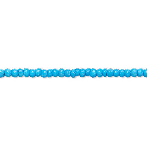 bead, bone (dyed), turquoise blue, 2mm round. sold per 16-inch strand.