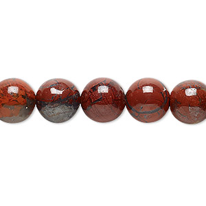 bead, brecciated jasper (natural), 10mm round, b grade, mohs hardness 6-1/2 to 7. sold per 16-inch strand.