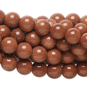 bead, brown goldstone (man-made), 8mm round. sold per pkg of (10) 16-inch strands.