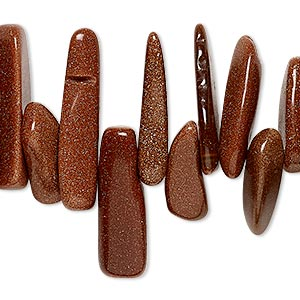bead, brown goldstone (man-made), extra-large top-drilled chip. sold per 15-inch strand.