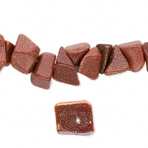 bead, brown goldstone (man-made), small to medium chip. sold per 16-inch strand.