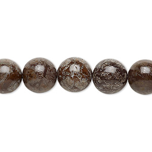 bead, brown snowflake jasper (natural), 10mm round, b grade, mohs hardness 6-1/2 to 7. sold per 16-inch strand.
