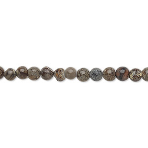 bead, brown snowflake jasper (natural), 4mm round, d grade, mohs hardness 6-1/2 to 7. sold per 15-inch strand.