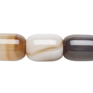 bead, brown striped agate (dyed), light to medium, 17x13mm-18x13mm barrel, b grade, mohs hardness 6-1/2 to 7. sold per 15-inch strand.