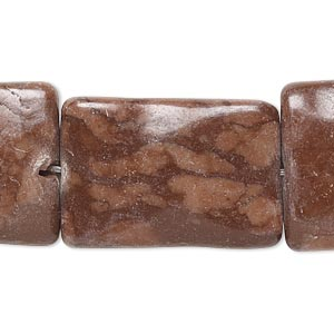 bead, brown zebra stone (natural), 28x18mm-33x23mm wavy flat rectangle, c grade, mohs hardness 6-1/2 to 7. sold per 15-inch strand.