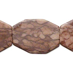 bead, brown zebra stone (natural), 38x24mm flat octagon, c- grade, mohs hardness 6-1/2 to 7. sold per 15-inch strand.