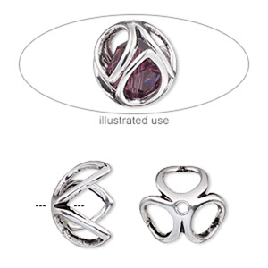 bead cage, antique silver-plated pewter (zinc-based alloy), 14mm round with oval cutout design, fits up to 10mm bead. sold per 2-piece set.