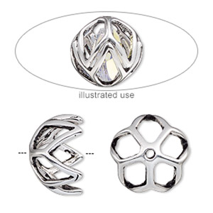 bead cage, antique silver-plated pewter (zinc-based alloy), 17mm round with diamond cutout design, fits up to 13mm bead. sold per 2-piece set.