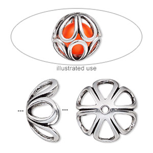 bead cage, antique silver-plated pewter (zinc-based alloy), 18mm round with teardrop cutout design, fits up to 14mm bead, sold per 2-piece set.