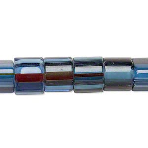 bead, cane glass, blue and multicolored, 9x8mm-11x10mm round tube with stripes. sold per 15-inch strand.