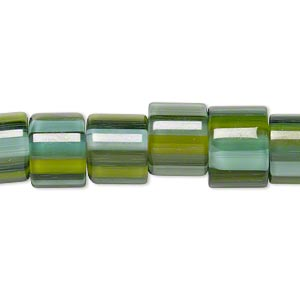 bead, cane glass, multicolored, 10x9mm-12x10mm round tube with stripes. sold per 15-inch strand.