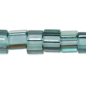 bead, cane glass, multicolored, 9x8mm-11x10mm square tube with stripes. sold per 15-inch strand.