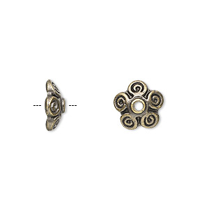 bead cap, antique brass-finished pewter (zinc-based alloy), 10x3mm flower, fits 10-12mm bead. sold per pkg of 10.