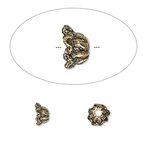 bead cap, antique brass-plated pewter (zinc-based alloy), 6x4mm flower, fits 4-6mm bead. sold per pkg of 100.