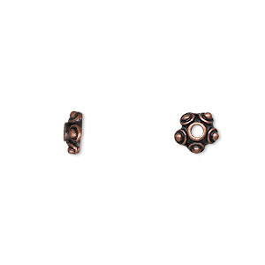 bead cap, antique copper-finished pewter (zinc-based alloy), 7x3mm star, fits 6-8mm bead. sold per pkg of 24.
