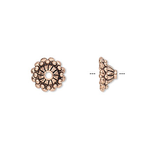 bead cap, antique copper-plated pewter (tin-based alloy), 10x5mm round with dots and lines, fits 8-10mm bead. sold per pkg of 10.