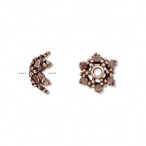 bead cap, antique copper-plated pewter (tin-based alloy), 11.5x6mm star, fits 10-12mm bead. sold per pkg of 6.