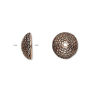 bead cap, antique copper-plated pewter (tin-based alloy), 12.5x5mm textured round, fits 10-12mm bead. sold per pkg of 2.