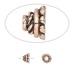 bead cap, antique copper-plated pewter (tin-based alloy), 5x4mm round with rope pattern, fits 3-4mm bead. sold per pkg of 10.
