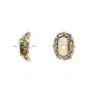 bead cap, antique gold-finished pewter (zinc-based alloy), 14x10x4mm oval, fits 18x13mm-22x18mm bead. sold per pkg of 6.