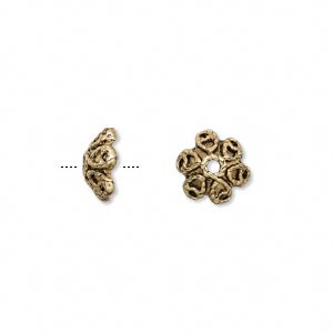bead cap, antique gold-finished pewter (zinc-based alloy), 9.5x4.5mm flower, fits 8-10mm bead. sold per pkg of 24.