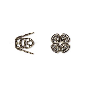 bead cap, antique gold-plated brass, 11x10mm long filigree, fits 12-14mm bead. sold per pkg of 100.
