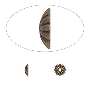 bead cap, antique gold-plated brass, 6x1.5mm ribbed round, fits 6-8mm bead. sold per pkg of 100.