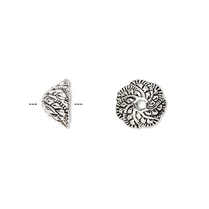 bead cap, antique silver-finished pewter (zinc-based alloy), 10.5x6mm fancy leaf, fits 6-8mm bead. sold per pkg of 20.