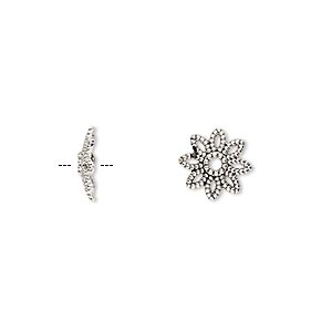 bead cap, antique silver-finished pewter (zinc-based alloy), 10x2.5mm flower, fits 10-14mm bead. sold per pkg of 20.