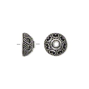 bead cap, antique silver-plated brass, 11.5x6mm beaded round, fits 10-12mm bead. sold per pkg of 10.