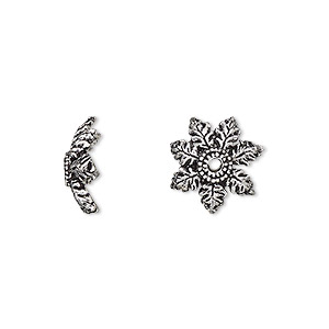 bead cap, antique silver-plated brass, 12x4mm flower, fits 10-14mm bead. sold per pkg of 6.