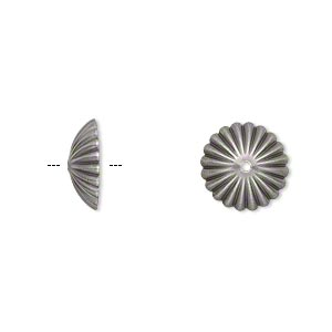 bead cap, antique silver-plated brass, 12x4mm ribbed round, fits 12-14mm bead. sold per pkg of 50.